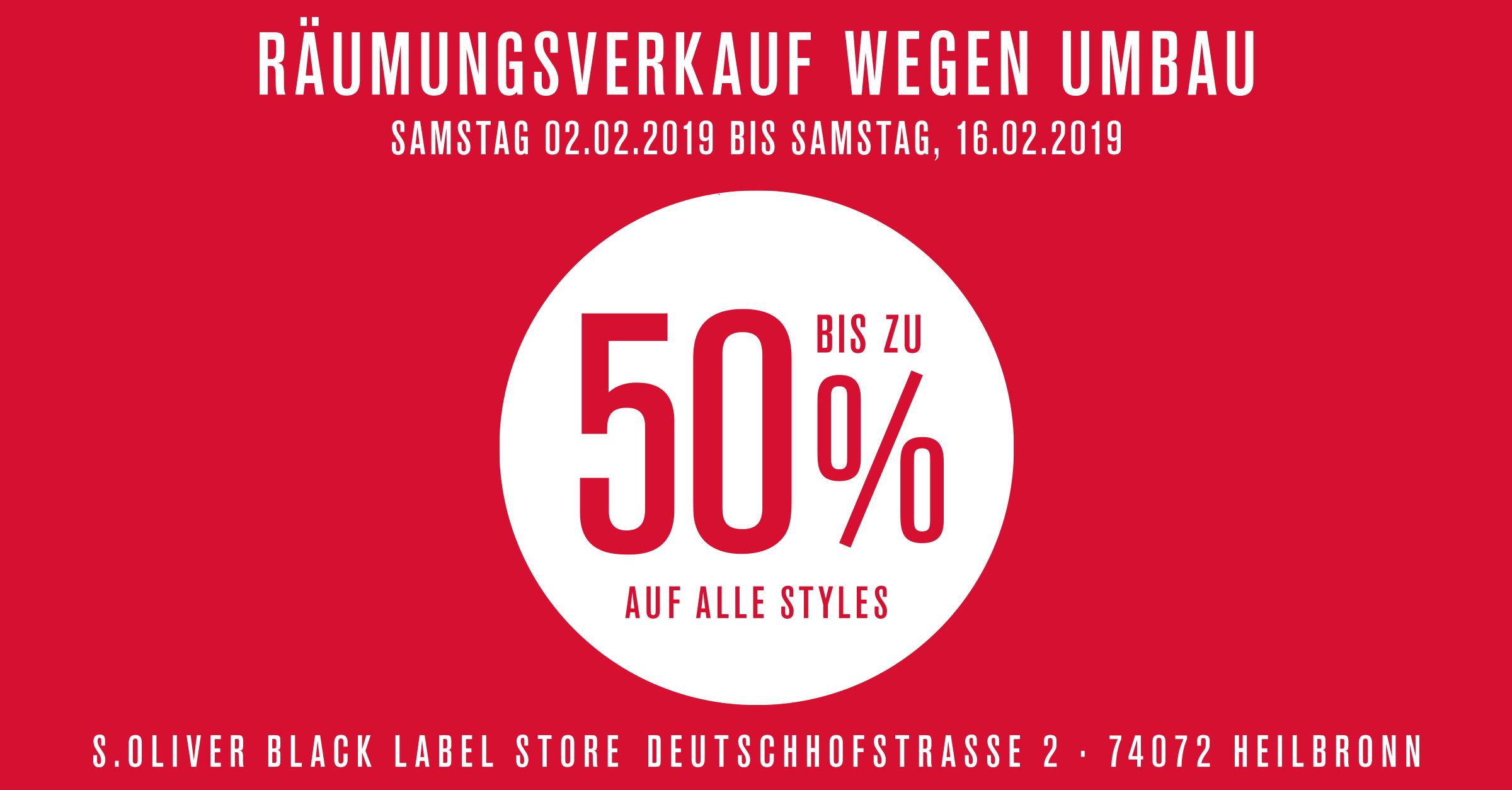 Räumungsverkauf im s.Oliver BLACK LABEL Store Heilbronn
